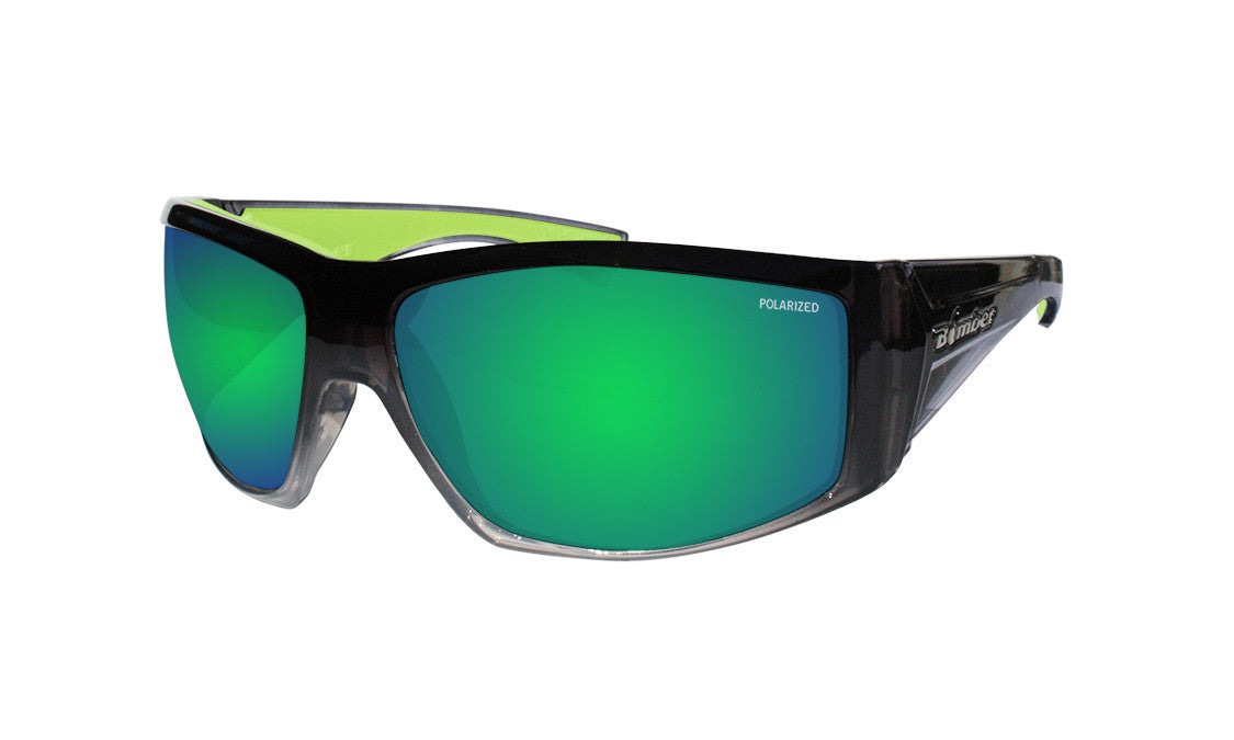 2-TONE FRAME FLOATING SUNGLASSES WITH GREEN MIRROR POLARIZED LENS