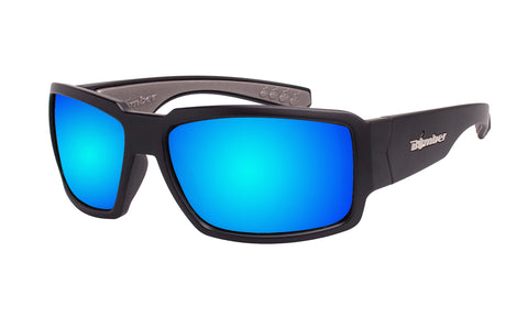 BLACK FRAME SAFETY GLASSES WITH ICE BLUE MIRROR LENS