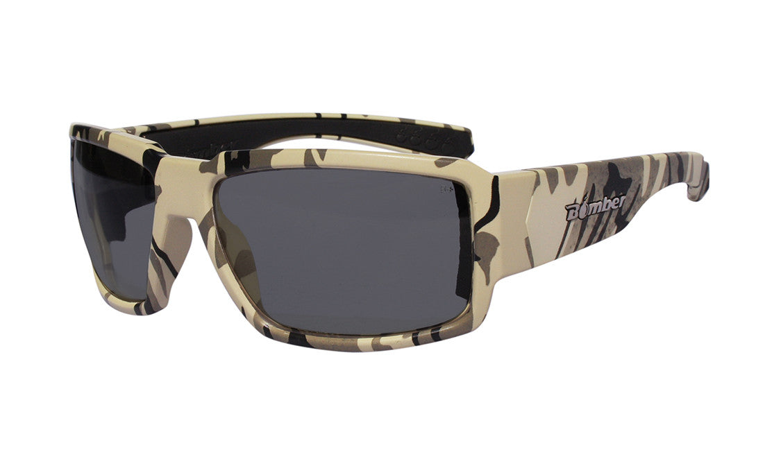 CAMO FRAME SAFETY GLASSES WITH SMOKE LENS