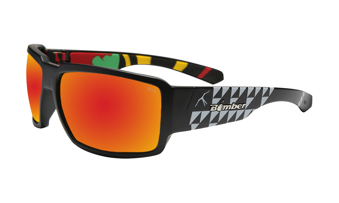 BLACK FRAME FLOATING SUNGLASSES WITH RED POLARIZED LENS