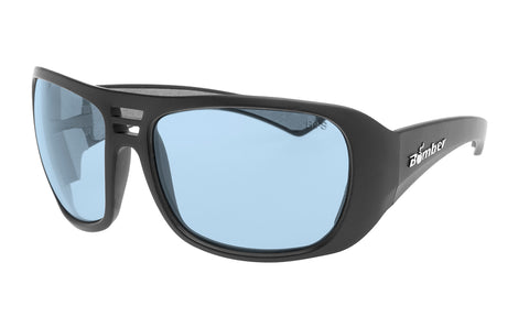 BLACK FRAME SAFETY GLASSES WITH LIGHT BLUE LENS