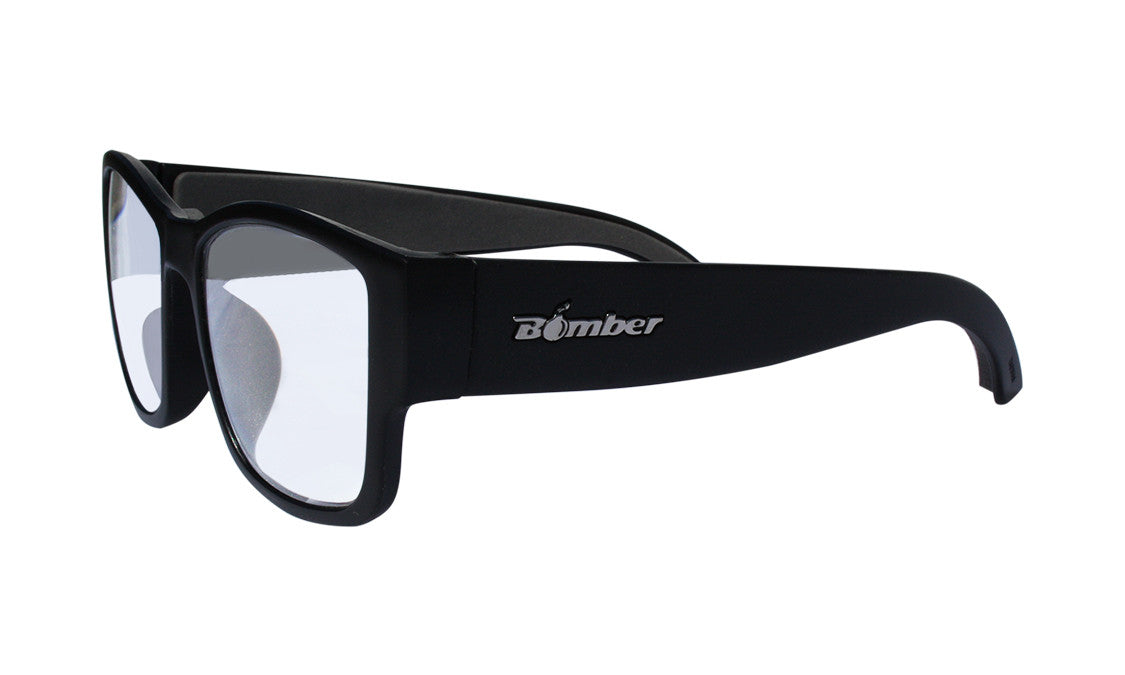 BLACK FRAME READING GLASSES WITH CLEAR LENS