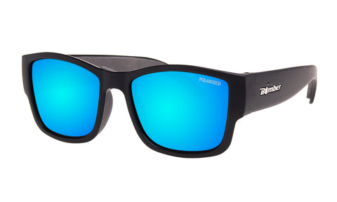 BLACK FRAME FLOATING SUNGLASSES WITH ICE BLUE MIRROR POLARIZED LENS