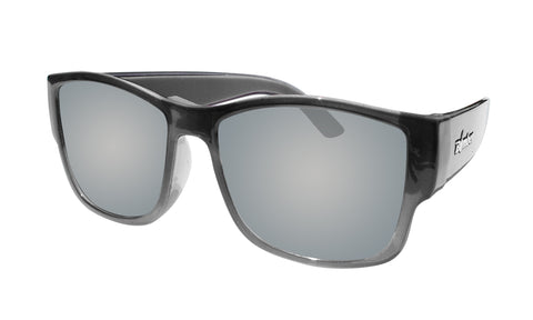 21a83e14c 2-TONE FRAME FLOATING SUNGLASSES WITH SILVER MIRROR POLARIZED LENS