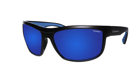 BLACK FRAME FLOATING SUNGLASSES WITH BLUE MIRROR POLARIZED LENS