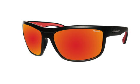 BLACK FRAME FLOATING SUNGLASSES WITH RED MIRROR POLARIZED LENS