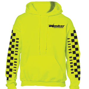 SAFETY YELLOW HOODED CHECKER SWEATSHIRT