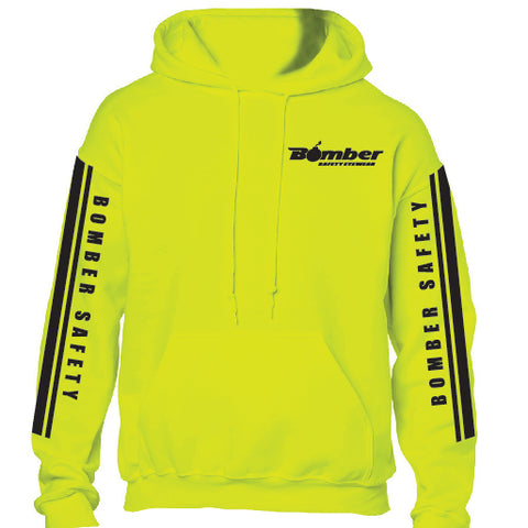 SAFETY YELLOW HOODED RACING STRIPE SWEATSHIRT