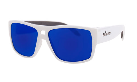 WHITE FRAME FLOATING SUNGLASSES WITH BLUE MIRROR LENS