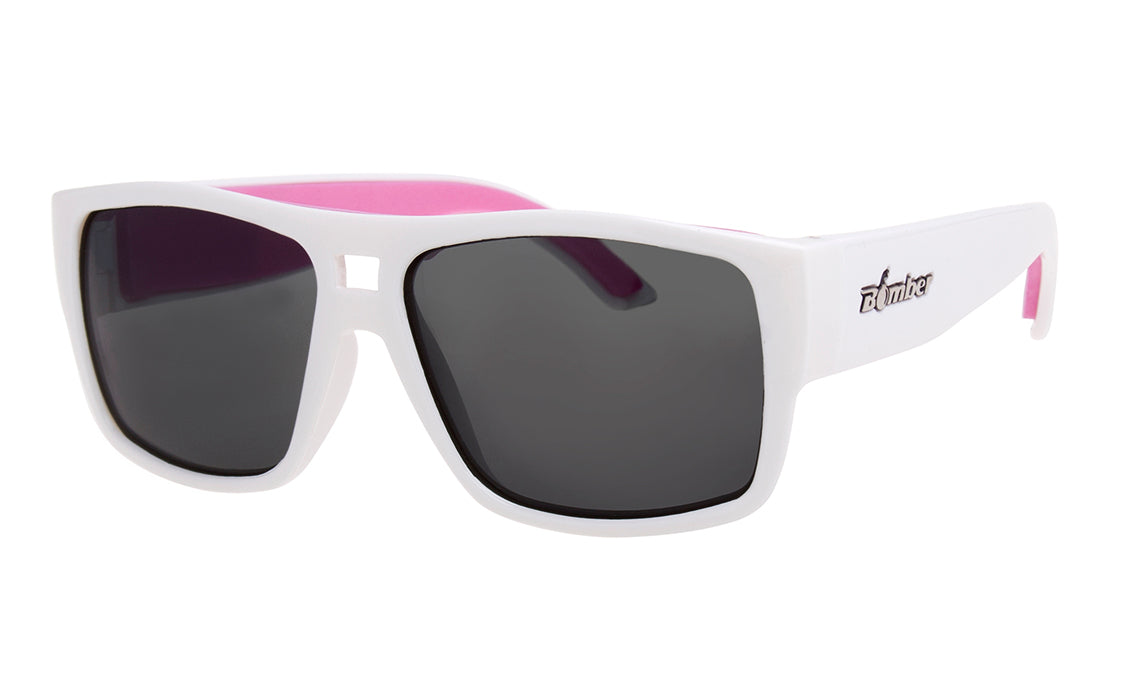 WHITE FRAME FLOATING SUNGLASSES WITH SMOKE POLARIZED LENS