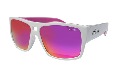 WHITE FRAME FLOATING SUNGLASSES WITH PINK POLARIZED LENS