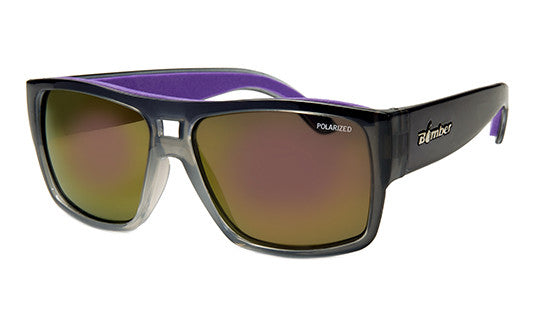 2-TONE FRAME FLOATING SUNGLASSES WITH PURPLE MIRROR POLARIZED LENS