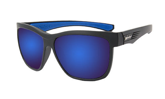BLACK FRAME FLOATING SUNGLASSES WITH BLUE MIRROR LENS