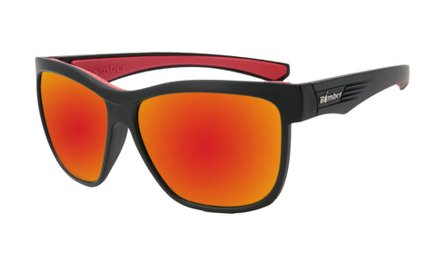 BLACK FRAME FLOATING SUNGLASSES WITH RED MIRROR LENS