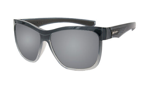 2-TONE FRAME FLOATING SUNGLASSES WITH SILVER MIRROR LENS