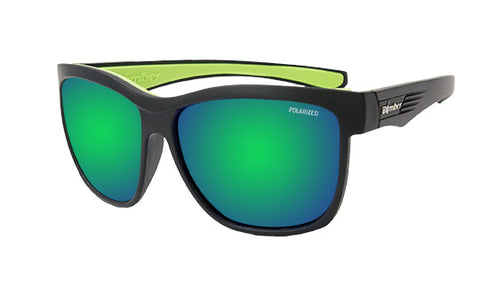 BLACK FRAME FLOATING SUNGLASSES WITH GREEN MIRROR POLARIZED LENS