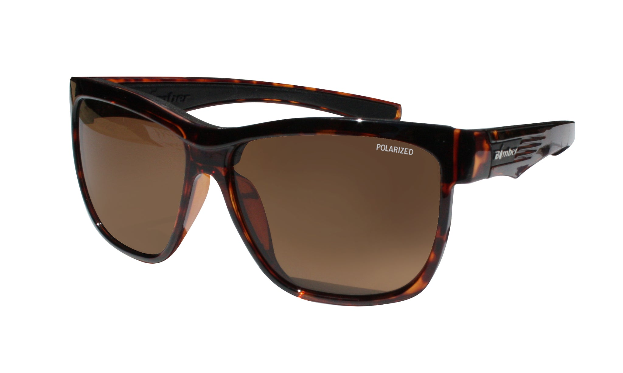 TORTOISE FRAME FLOATING SUNGLASSES WITH BROWN POLARIZED LENS
