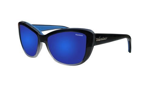 2-TONE FRAME FLOATING SUNGLASSES WITH BLUE MIRROR POLARIZED LENS