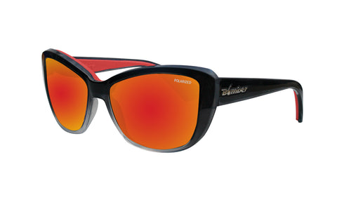 2-TONE FRAME FLOATING SUNGLASSES WITH RED MIRROR POLARIZED LENS