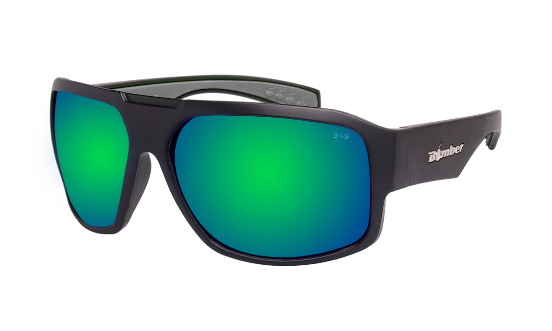 BLACK FRAME SAFETY GLASSES WITH GREEN MIRROR LENS