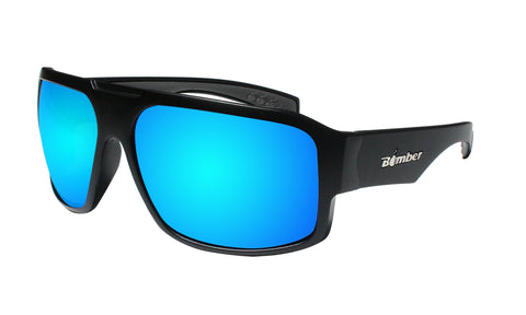 BLACK FRAME SAFETY SUNGLASSES WITH ICE BLUE MIRROR LENS