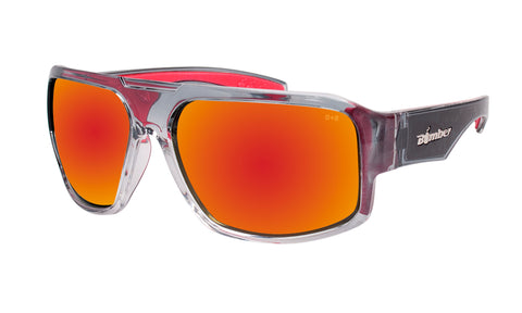 2-TONE FRAME SAFETY GLASSES WITH RED MIRROR LENS