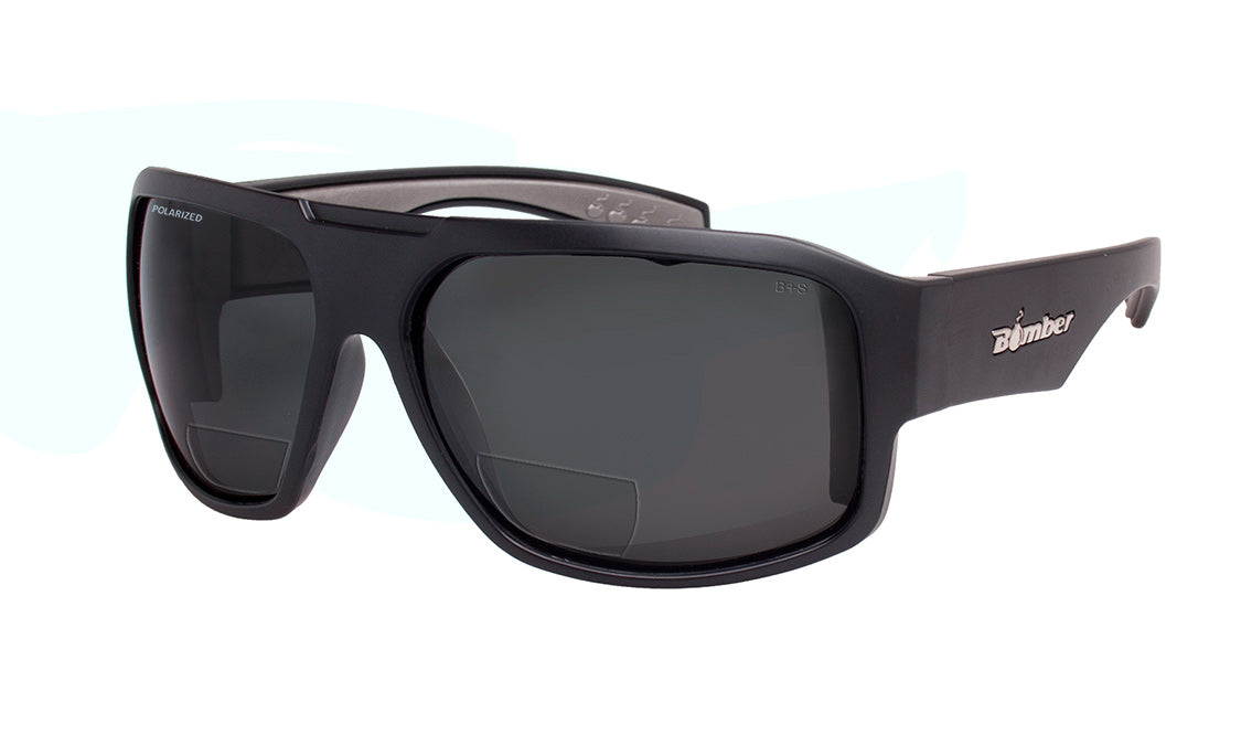 BLACK FRAME FLOATING SUNGLASSES WITH SMOKE POLARIZED BI-FOCAL LENS