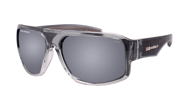 6aa2bd8a35 2-TONE FRAME FLOATING SUNGLASSES WITH SILVER MIRROR POLARIZED LENS