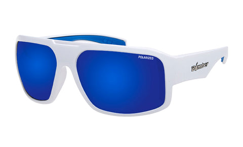 WHITE FRAME FLOATING SUNGLASSES WITH BLUE MIRROR POLARIZED LENS