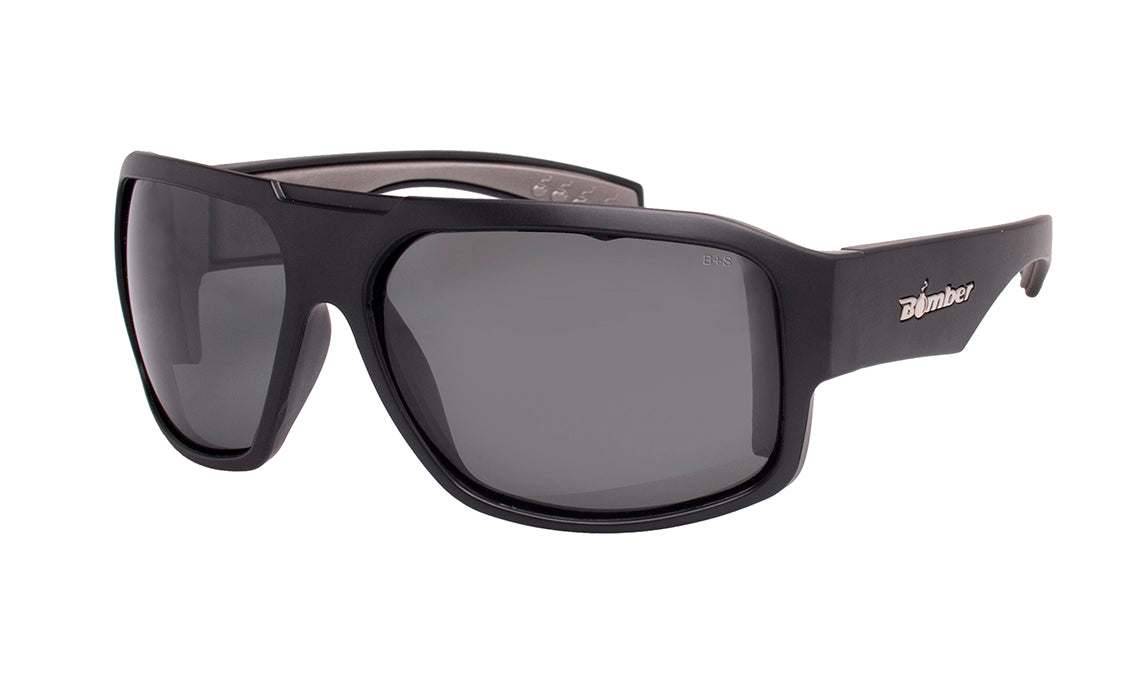BLACK FRAME SAFETY GLASSES WITH SMOKE PHOTOCHROMIC TRANSITION LENS