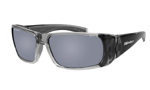 2-TONE FRAME FLOATING SUNGLASSES WITH SILVER MIRROR POLARIZED LENS