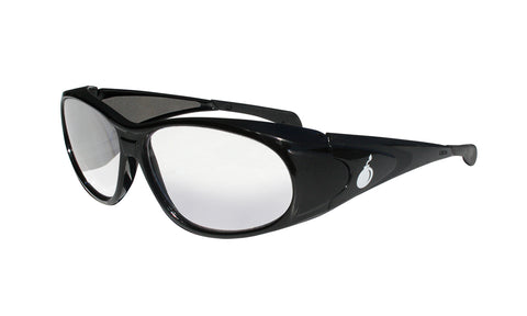 BLACK FRAME SAFETY GLASSES WITH CLEAR BI-FOCAL LENS