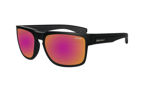 BLACK FRAME FLOATING SUNGLASSES WITH PINK MIRROR POLARIZED LENS
