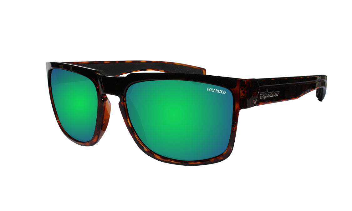 TORTOISE FRAME FLOATING SUNGLASSES WITH GREEN MIRROR POLARIZED LENS