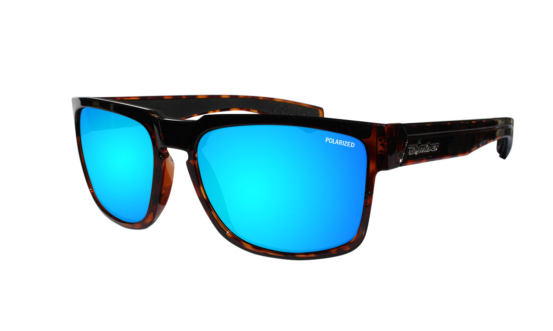 TORTOISE FRAME FLOATING SUNGLASSES WITH ICE BLUE MIRROR POLARIZED LENS