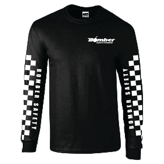 T-SHIRT BLACK CHECKER LONG SLEEVE