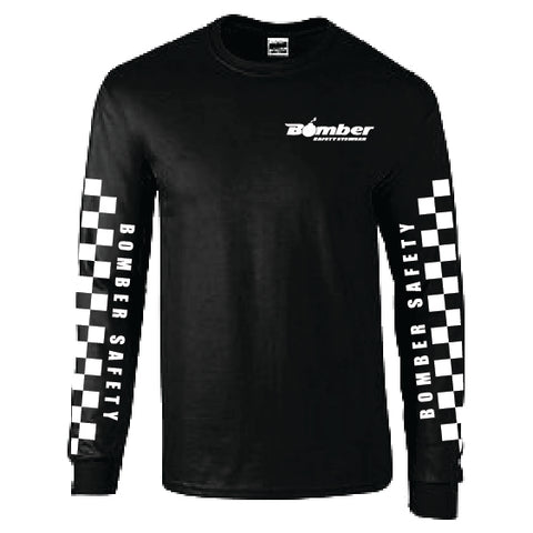 BLACK & WHITE CHECKER LONG SLEEVE T-SHIRT
