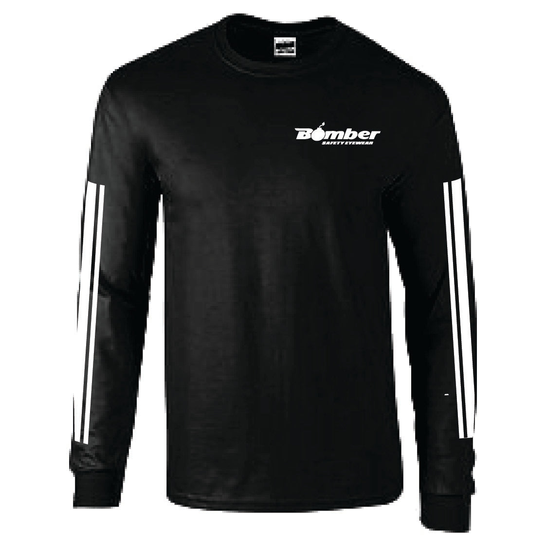 BLACK RACING STRIPE LONG SLEEVE T-SHIRT