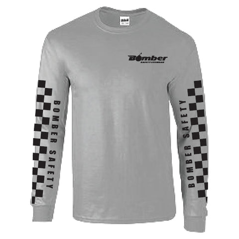 GRAY CHECKER LONG SLEEVE T-SHIRT