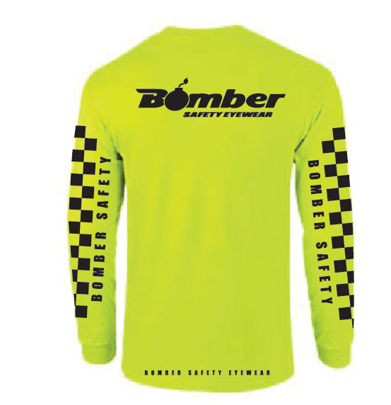 T-SHIRT SAFETY YELLOW CHECKER LONG SLEEVE