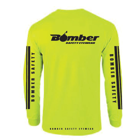 T-SHIRT SAFETY YELLOW RACING STRIPE LONG SLEEVE
