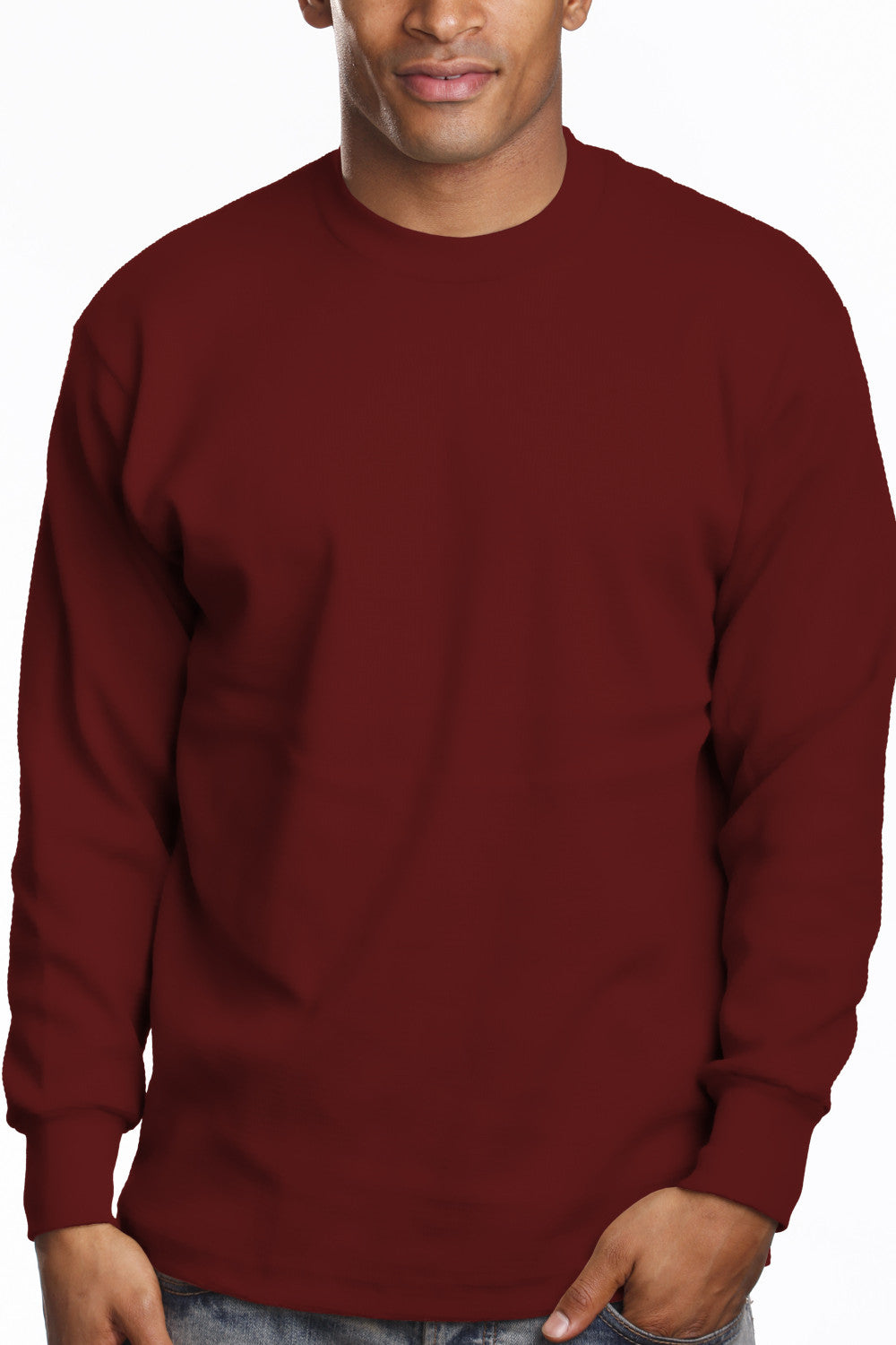 Mens Long Sleeve Super Heavy Shirt Tall Size Burgundy
