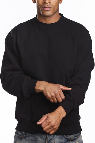 Mens Fleece Crew Neck Sweater Long Sleeve Black