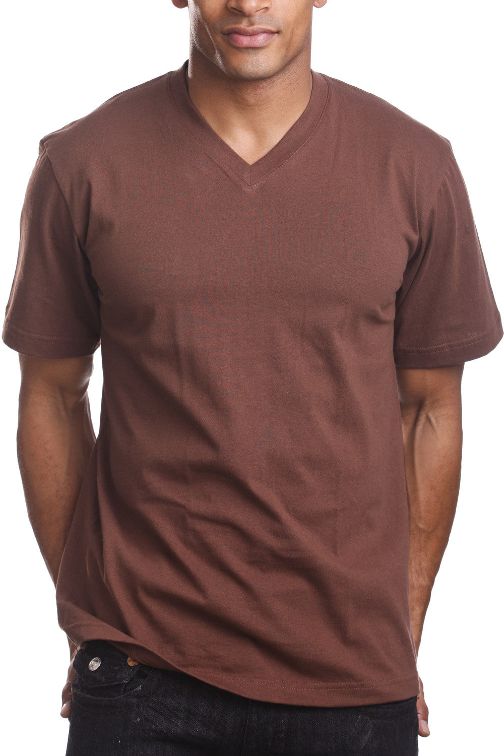 Mens Casual V-Neck T-Shirt Brown