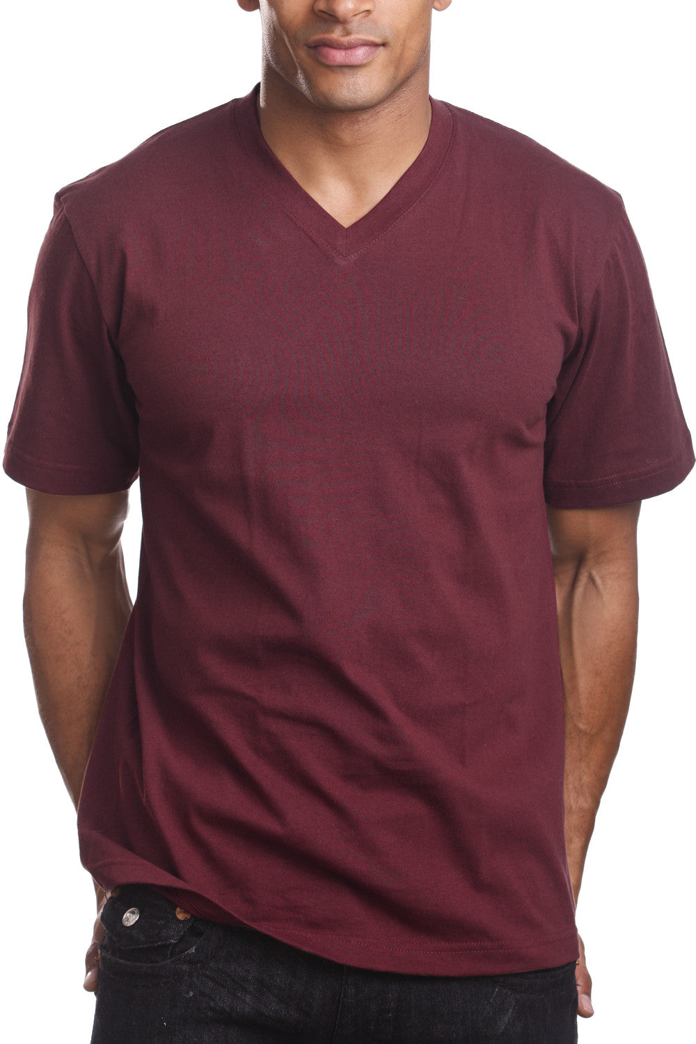 Mens Casual V-Neck T-Shirt Burgundy
