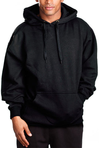 Mens Fleece Pullover Hoodie Sweater Long Sleeve Black