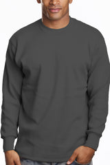 Mens Long Sleeve Super Heavy Shirt Tall Size Dark Grey
