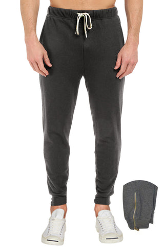 French Terry Fleece Pants Sweatpants Joggers Zippers Charcoal