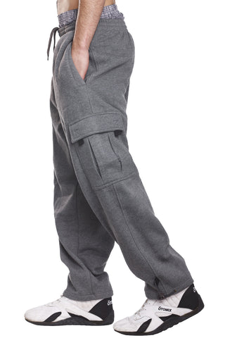 Mens Fleece Cargo Pants Sweatpants Pocket Charcoal