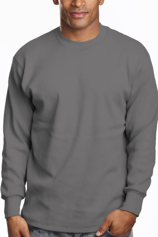 Mens Long Sleeve Super Heavy Shirt 2XL 3XL 4XL 5XL 7XL Charcoal
